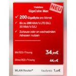GigaCube Max Tarif: DSL Alternative via LTE mit bis zu 200 GByte Datenvolumen