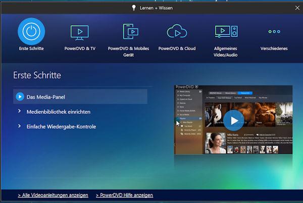PowerDVD 18 - Lernen und Wissen - umfangreiche Hilfe auch mit Videos