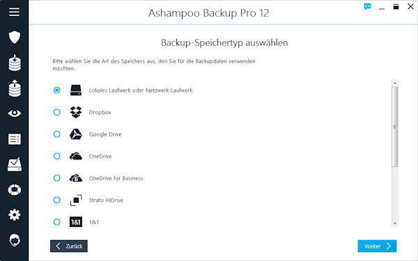 Ashampoo Backup Pro 12 - Backup Optionen