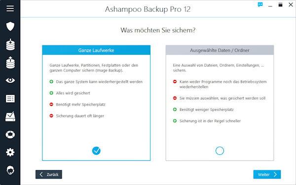 Ashampoo Backup Pro 12 - Backup Verfahren