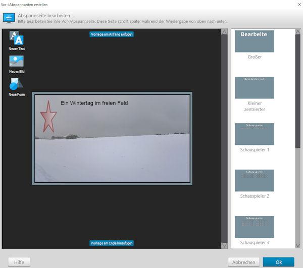 Ashampoo Slideshow Studio-HD4 Intro/Abspann bearbeiten
