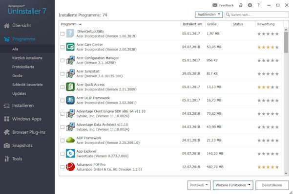 Ashampoo Uninstaller 7 - Übersicht installierte Programme