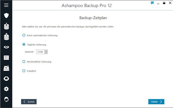 Ashampoo Backup Pro 12 Zeitplan