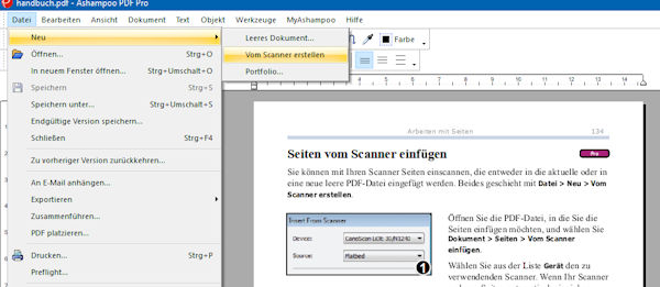 ashampoo pdf pro dokumente einscannen