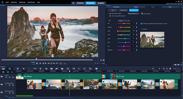 Corel VideoStudio 2019 Farbkorrektur-Optionen