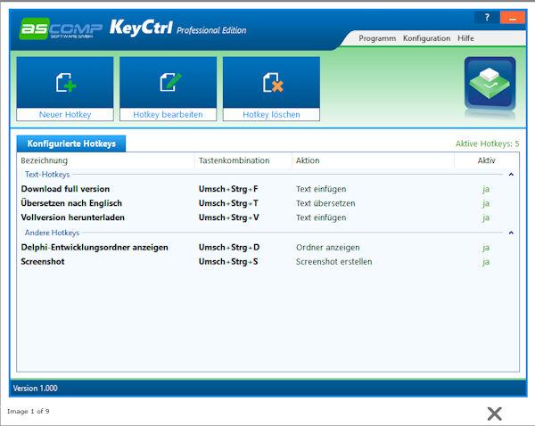 ASCOMP Hotkey Manager KeyCtrl