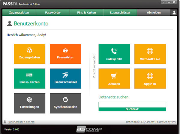 ASCOMP Passta - Passwort-Management-Tool mit Smartphone-Sychronisation