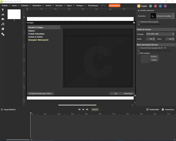 Incomedia WebAnimator 3 - Neues Projekt erstellen mit Vorlagen