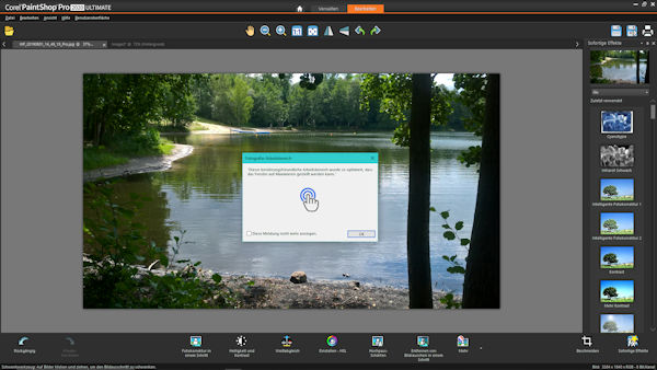 Corel PaintShop Pro 2020 Fotografie Bearbeitungsmodus mit Touch-Bedienung