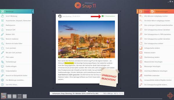 Ashampoo Snap 11 - Programm zum Erfassen und Aufbereiten von Screenshots und Bildschirm-Videos