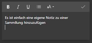 Eine Notiz in einer Sammlung im Edge Browser hinzufügen