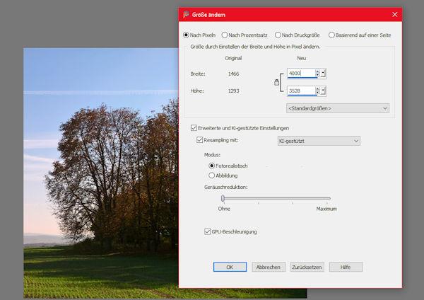 PaintShop Pro 2021 - KI-basierte Vergößerung von Fotos