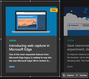 Screesnhots / Bildschirmaufnahmen mit dem Edge Browser