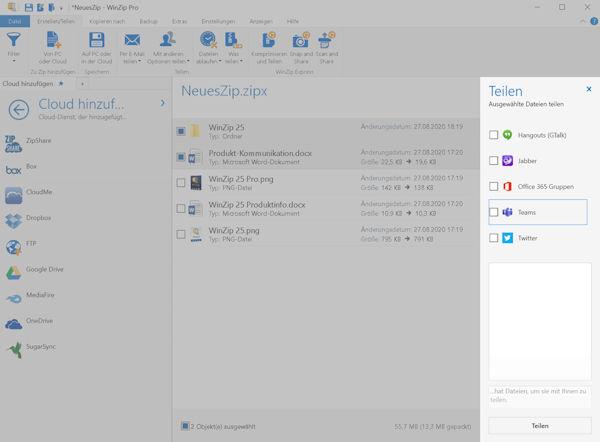 WinZip 25 - Integration mit Microsoft Teams
