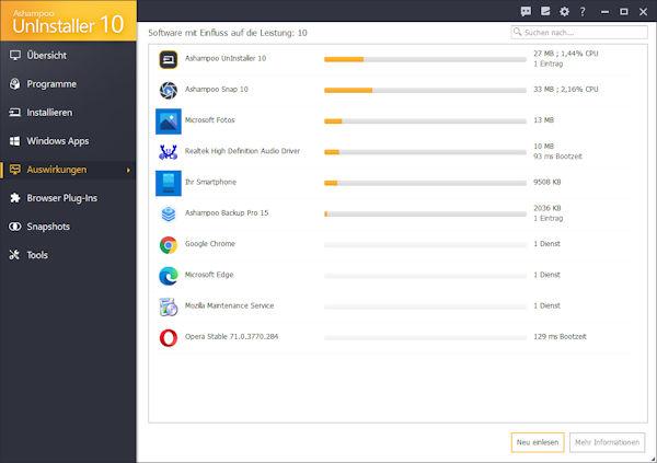 Ashampoo Uninstaller 10  - Auswirkungen von Programmen auf das Betriebssystem