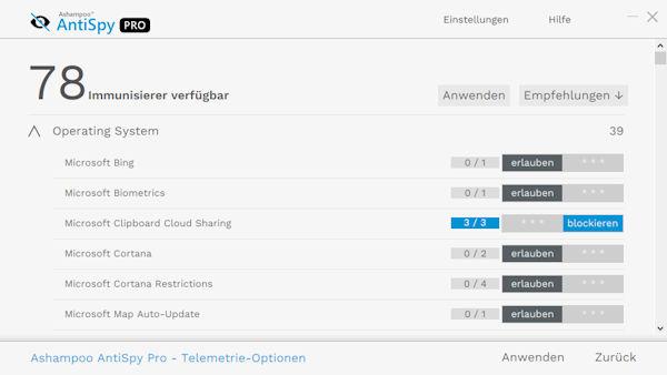 Ashampoo® AntiSpy Pro - Datenschutz und Privatsphäre für Windows