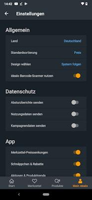 idealo.de App - Einstellungen