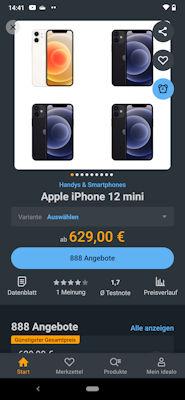 idealo.de App - Produktdetails mit Preis
