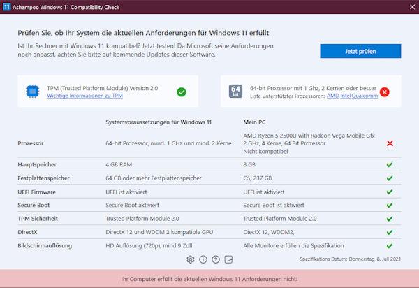 Ashampoo® Windows 11 Compatibility Check - AMD Ryzen 2500U fällt durch