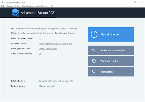 Ashampoo Backup 2021 - kostenlose Backup Software