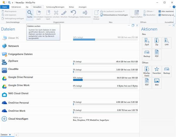 WinZip Pro 26 Hauptprogramm